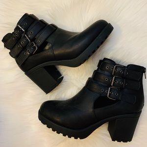 Black Buckle Heeled Boots